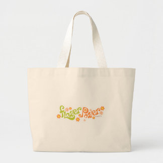 Groovy Flower Power Saying Large Tote Bag