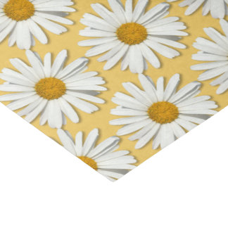 Groovy Flower White Daisy Hippie Blossoms Yellow Tissue Paper