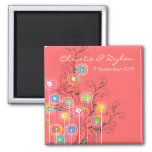 Groovy Flowers Garden Whimsical Save The Date 2 Inch Square Magnet