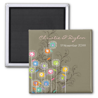 Groovy Flowers Garden Whimsical Save The Date Magnets