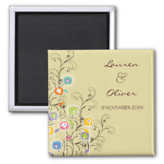 Groovy Flowers Garden Whimsical Save The Date Fridge Magnet