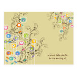 Groovy Flowers Garden Whimsical Save The Date Postcard