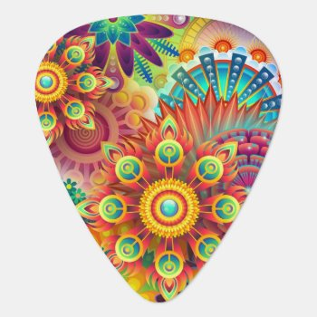 Groovy Flowers Guitar Pick by Ladycreativity at Zazzle
