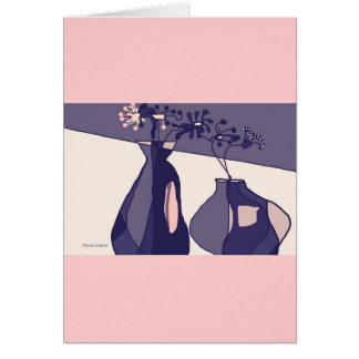 Groovy Flowers in Vases, Pinks Mauves, template Card