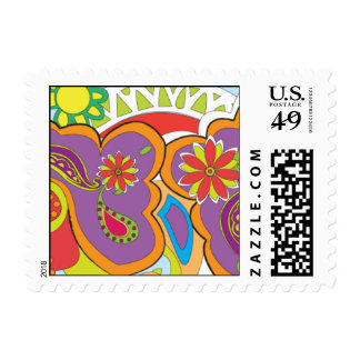 Groovy Flowers Postage Stamps