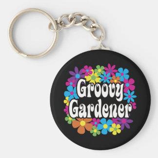 Groovy Gardener Basic Round Button Keychain