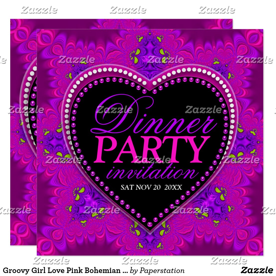 Groovy Girl Love Pink Bohemian Dinner Party Card by Paperstation