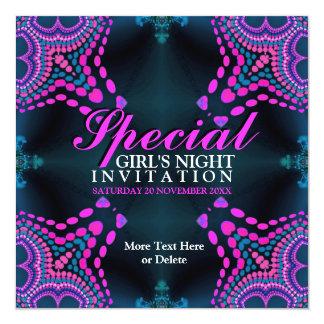 Groovy Girls Night Purple Hot Pink Party Invitatio Card