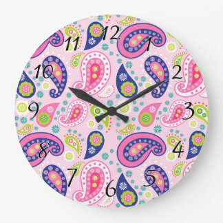 Groovy Girly Paisley Large Clock