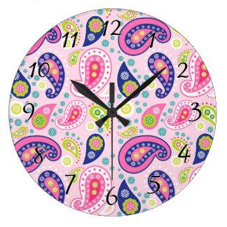 Groovy Girly Paisley Large Clock