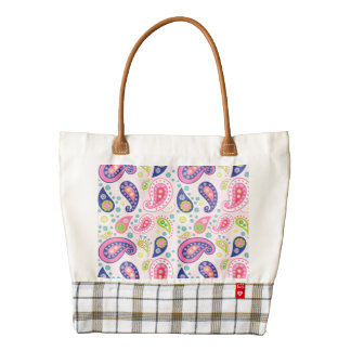 Groovy Girly Paisley Zazzle HEART Tote Bag