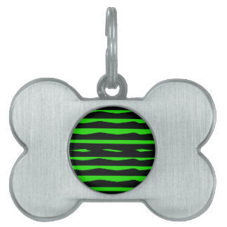 Groovy Green and Black Stripes Pet ID Tag