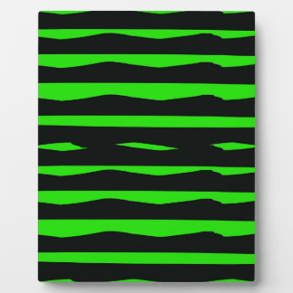 Groovy Green and Black Stripes Plaque