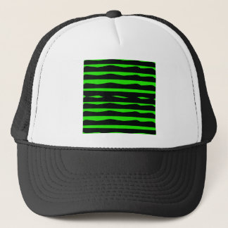 Groovy Green and Black Stripes Trucker Hat