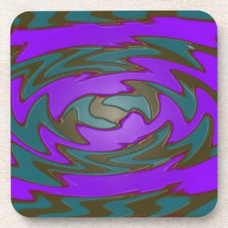 groovy green purple abstract coaster