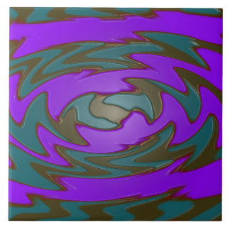 groovy green purple abstract tile
