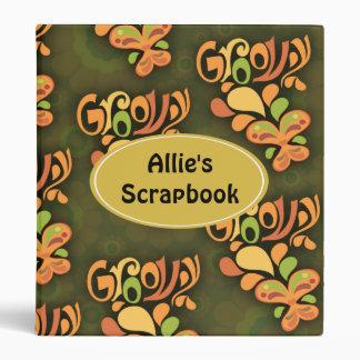 Groovy Green Sixties Butterflies 3 Ring Binder