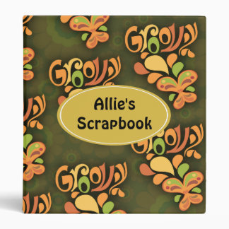 Groovy Green Sixties Butterflies Binder