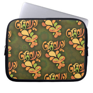 Groovy Green Sixties Butterflies Computer Sleeve