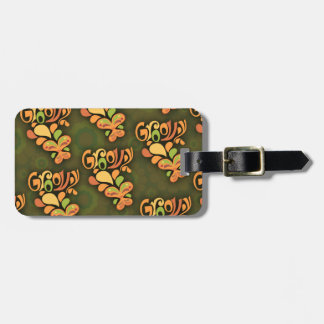 Groovy Green Sixties Butterflies Tag For Luggage