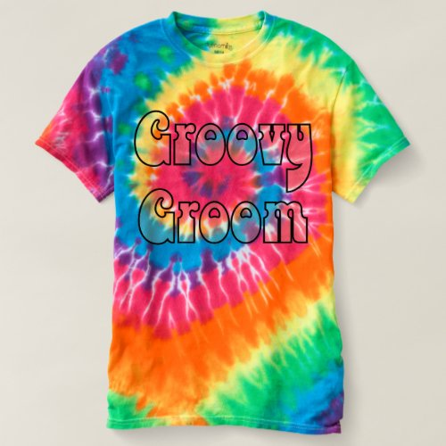 Groovy Groom Rainbow Spiral Tie Dye T-shirt
