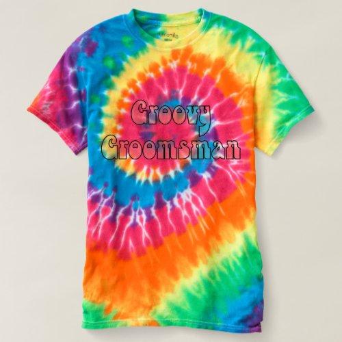 Groovy Groomsman Rainbow Spiral Tie Dye T-shirt