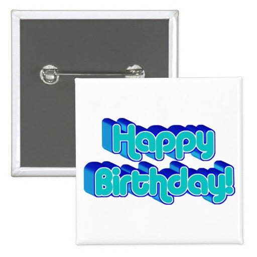 Groovy Happy Birthday Retro Blue Text Image Button