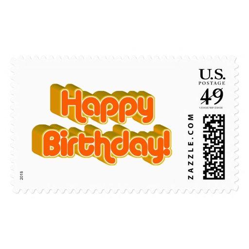 Groovy Happy Birthday Retro Orangey Text Image Stamp