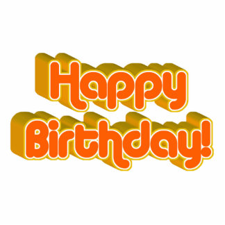 Groovy Happy Birthday Retro Orangey Text Image Statuette