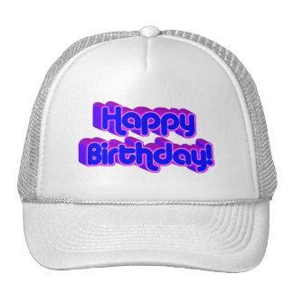 Groovy Happy Birthday Retro Purple Text Image Trucker Hats