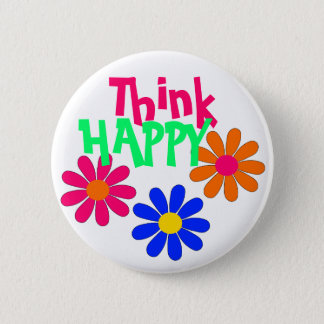 Groovy Happy Flowers Pinback Button