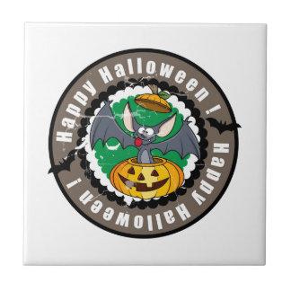 Groovy Happy Halloween Bat & Pumpkin Tile