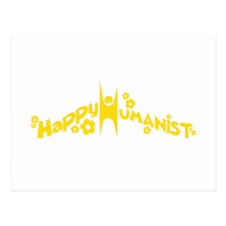 Groovy Happy Humanist Gold Postcard