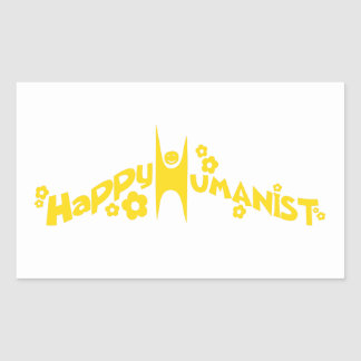 Groovy Happy Humanist Gold Rectangle Sticker