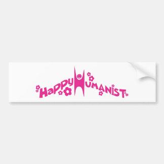 Groovy Happy Humanist Pink Bumper Sticker