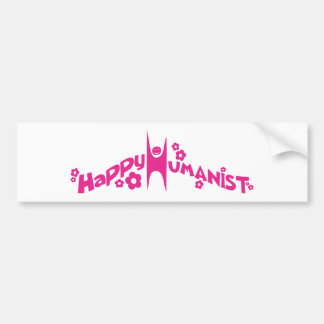 Groovy Happy Humanist Pink Car Bumper Sticker