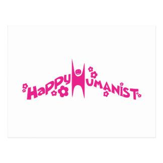 Groovy Happy Humanist Pink Postcard
