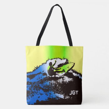 Beach Themed Groovy Hawaiian Surfer 60s Retro MonogramBeach Bag