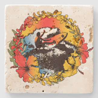Groovy Hawaiian Surfer 60's Retro Tiki Bar Coaster