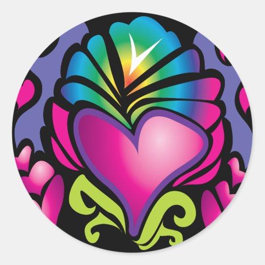 groovy heart wave classic round sticker