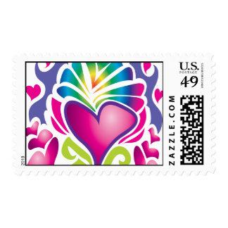 groovy heart wave postage