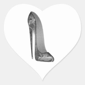 Groovy High Heel Stiletto Shoe Art Heart Sticker