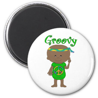 Groovy Hippie Baby African American Green Fridge Magnets