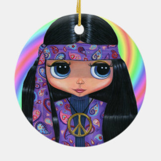 Groovy Hippie Chick in Purple Paisley Peace Sign Ceramic Ornament