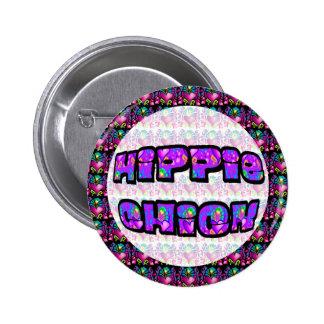 groovy hippie chick pinback button