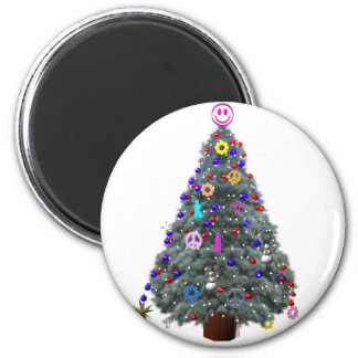 Groovy Hippie Christmas Tree 2 Inch Round Magnet