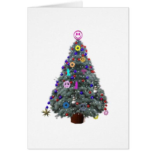 Groovy Hippie Christmas Tree Card