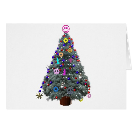 Groovy hippie christmas tree cards zazzle