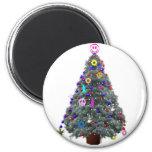 Groovy Hippie Christmas Tree Fridge Magnet