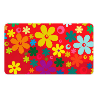 Groovy Hippie Colorful Flowers Love Peace Pattern Business Card